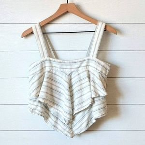 Nordstrom BP Linen Rayon Cropped Ruffle Top M